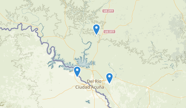 trail locations for Del Rio, Texas