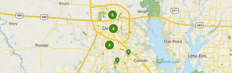 Map of trails in Denton, Texas