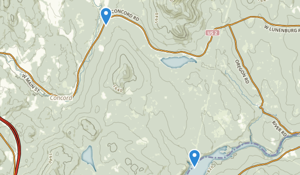 trail locations for Concord, Vermont