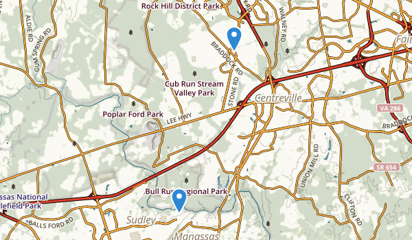 trail locations for Centreville, Virginia