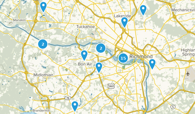 Map Of Trails Near Richmond Virginia Alltrails