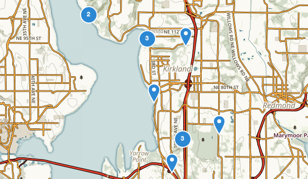 trail locations for Kirkland, Washington
