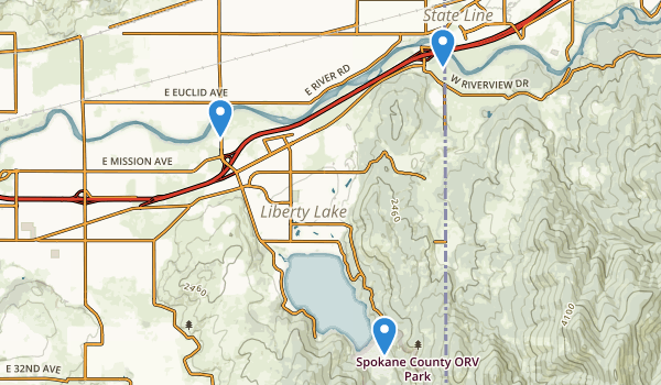 trail locations for Liberty Lake, Washington
