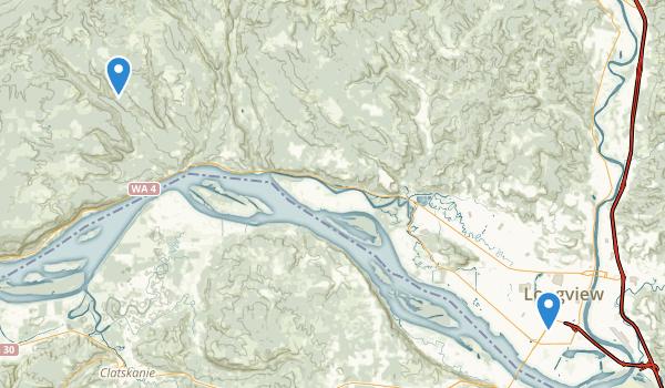 trail locations for Longview, Washington