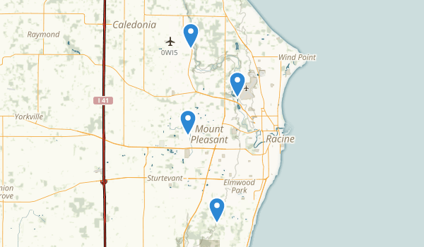 trail locations for Racine, Wisconsin