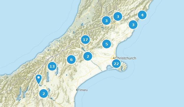 Canterbury Region, New Zealand Map