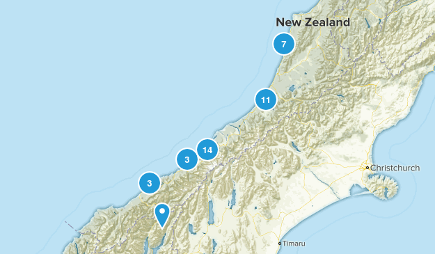 West Coast Region, New Zealand Map