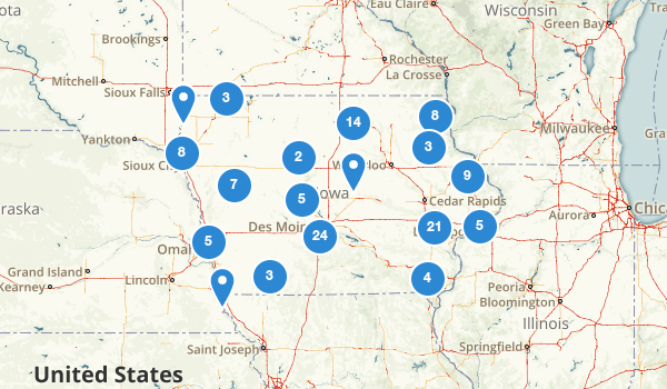 trail locations for Iowa