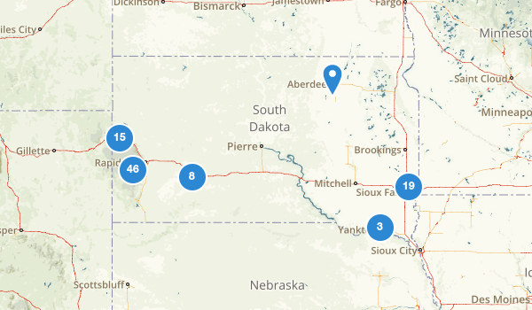 trail locations for South Dakota