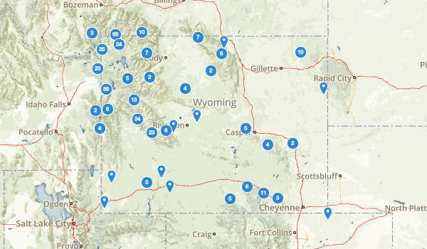 trail locations for Wyoming