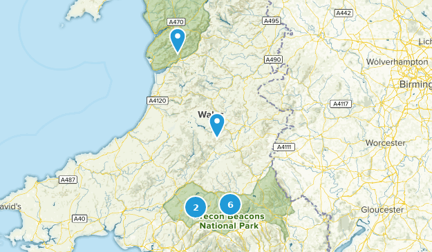 Powys, Wales Cities Map
