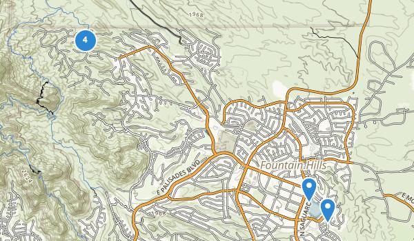 trail locations for Fountain Hills, Arizona