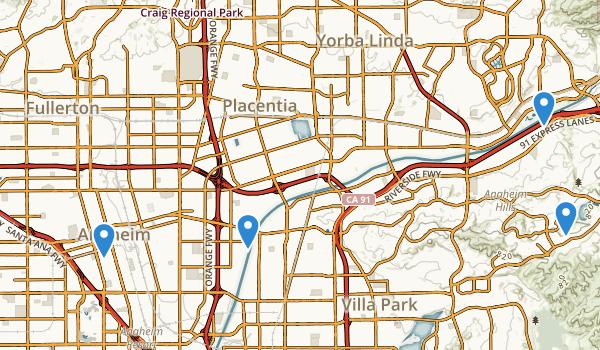 trail locations for Anaheim, California