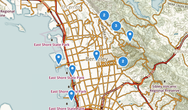 trail locations for Berkeley, California