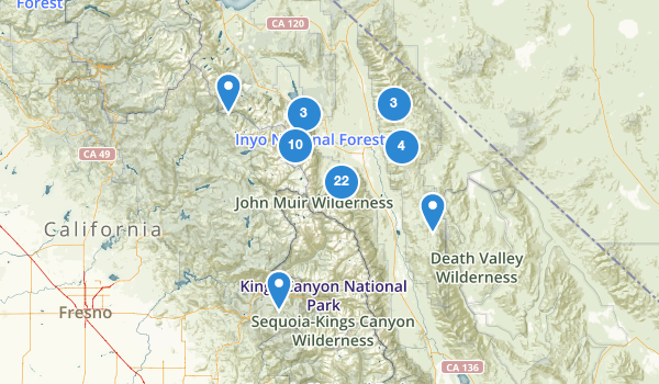 trail locations for Bishop, California