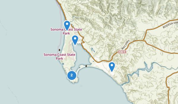 trail locations for Bodega Bay, California