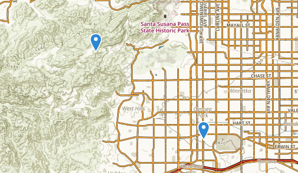trail locations for Canoga Park, California