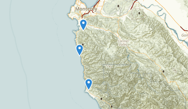 trail locations for Carmel, California