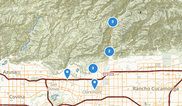 trail locations for Claremont, California
