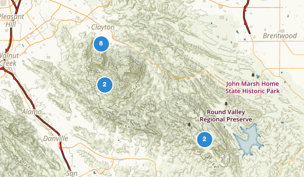 trail locations for Clayton, California