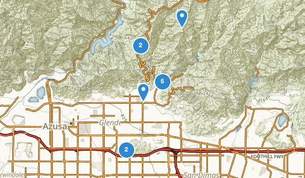 trail locations for Glendora, California