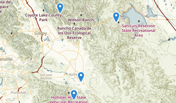 trail locations for Hollister, California