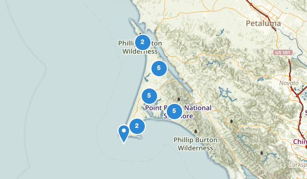 trail locations for Inverness, California
