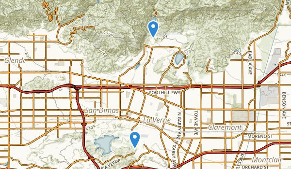 trail locations for La Verne, California