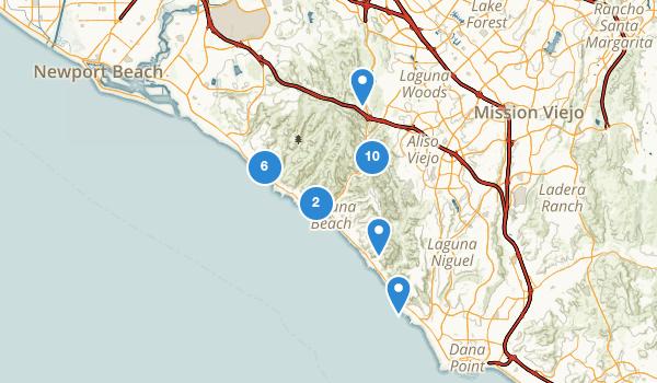 trail locations for Laguna Beach, California