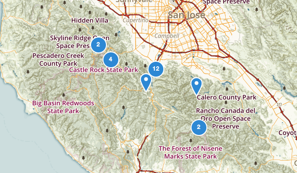 trail locations for Los Gatos, California
