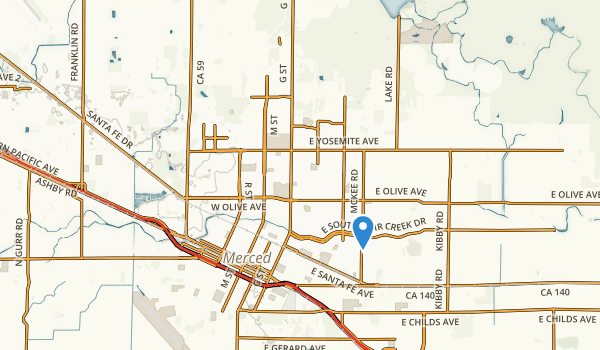 trail locations for Merced, California