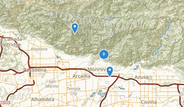 trail locations for Monrovia, California