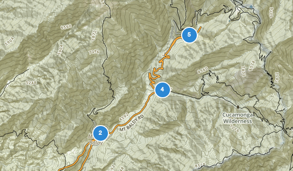 trail locations for Mt Baldy, California