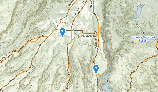 trail locations for Paradise, California