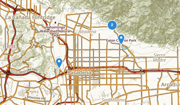 trail locations for Pasadena, California