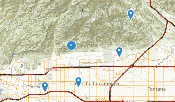 trail locations for Rancho Cucamonga, California
