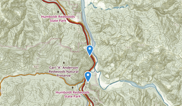 trail locations for Redcrest, California