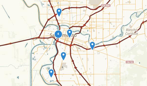 trail locations for Sacramento, California
