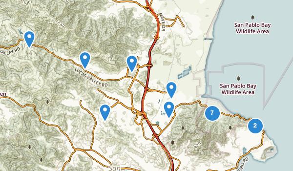 trail locations for San Rafael, California