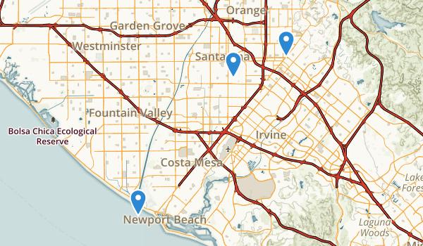 trail locations for Santa Ana, California