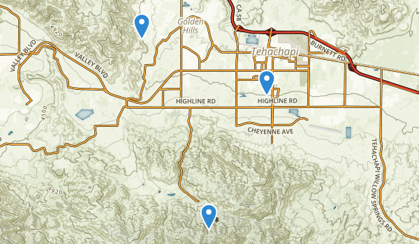 trail locations for Tehachapi, California