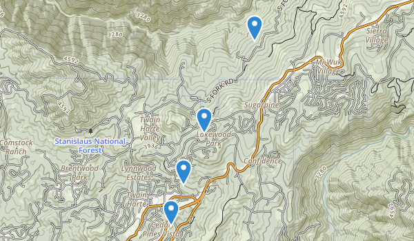 trail locations for Twain Harte, California
