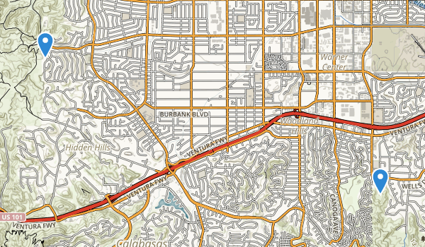 trail locations for Woodland Hills, California