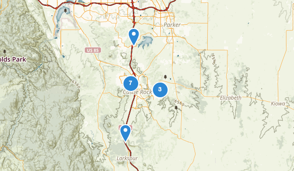 trail locations for Castle Rock, Colorado