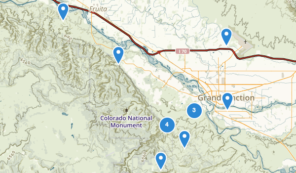 trail locations for Grand Junction, Colorado
