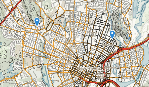 trail locations for New Haven, Connecticut