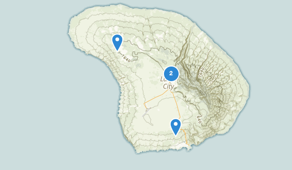 trail locations for Lanai City, Hawaii