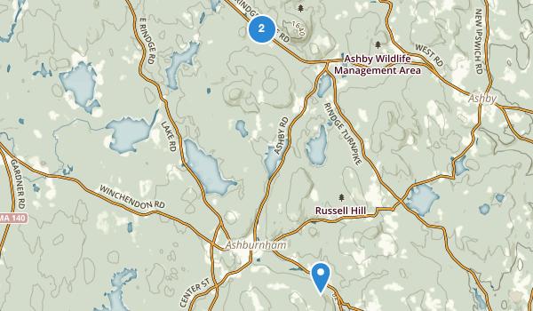 trail locations for Ashburnham, Massachusetts