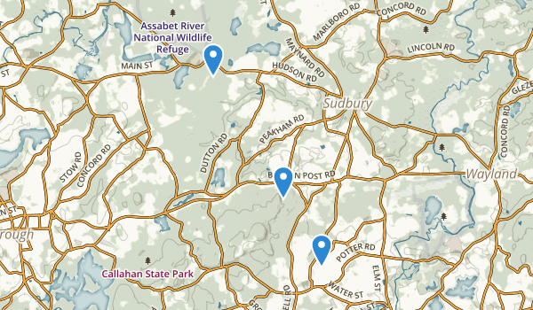 trail locations for Sudbury, Massachusetts
