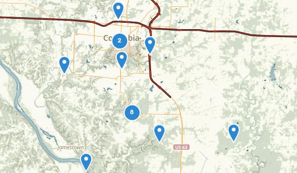 trail locations for Columbia, Missouri